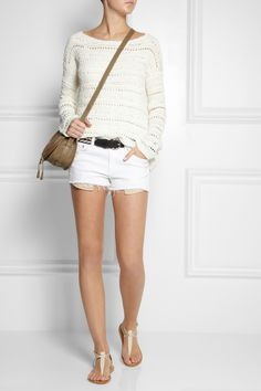 Donna Karan | Open-knit silk sweater | Equipment | Washed-silk camisole | rag & bone | The Mila mid-rise cut-off twill shorts | Isabel Marant | Uma embroidered leather belt | K Jacques St Tropez| |Buffon T-bar leather sandals|Chloe | The Marcie mini textured-leather shoulder bag