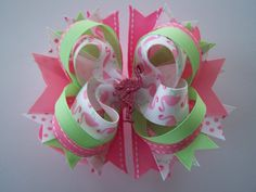 Fun Flamingo Boutique Bow by laladivabowtique on Etsy, $8.50