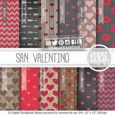 Valentine's day Digital Paper love Background hearts hot pink red fuchsia chevron pink arrows kisses stripes polka dots cupid for blog