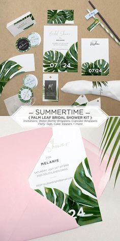 Ideas For Palm Tree Graphic Design Tropical Graphic Wedding Invitations, Printable Invitations, Bridal Shower Invitations, Printable Party, Party Invitations, Printables, California Palm Trees, California Decor, Tropical Bridal Showers