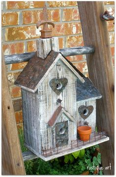 Old Red Rustic Birdhouse Decorative Wood Bird House Garden or Home Decor Recycled Industrial Cottage Farmhouse. Birdhouse Birdhouses in the . Bird House Feeder, Deco Originale, Bird Boxes, Creation Deco, Fairy Houses, Little Houses, Bird Cage, Bird Feathers, Beautiful Birds