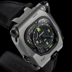 """Urwerk EMC """"Time Hunter"""" limited edition of titanium/steel case. Timex Watches, Rolex Watches For Men, Casual Watches, Luxury Watches, Cool Watches, Men's Watches, Time Design, Fashion Watches, Men's Fashion"""