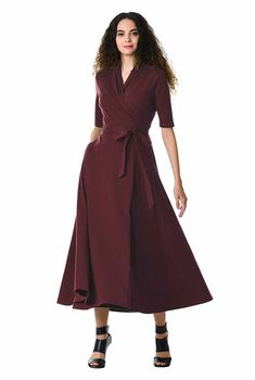 4e7a1fcac0 I  lt 3 this Cotton knit wrap midi dress from eShakti Wrap Dresses