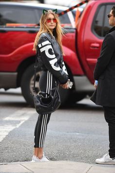 Gigi looked so cute and stylish in her Adidas workout wear.