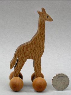 Giraffe Toy on Wheels Wooden Block Animals for Kids Organic Zoo Animals Stocking Stuffers