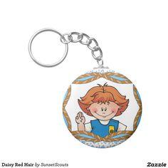 Daisy Red Hair Basic Round Button Keychain