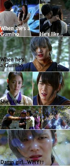 LOL But it's true! Why is she just pretty with nine tails, and he's a hairy werewolf? Gu Family Book