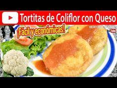 CÓMO HACER TORTITAS DE COLIFLOR CON QUESO | Vicky Receta Facil - YouTube Frijoles Refritos, Mexican Food Recipes, Cauliflower, Keto, Cooking, Quinoa, Youtube, Fish Tacos, Tuna Cakes