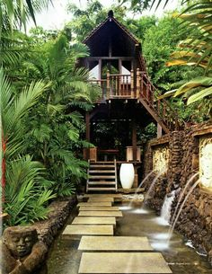 Tropical Tree House, Bali photo via rebbeca Beautiful Homes, Beautiful Places, Cool Tree Houses, Tropical Houses, Tropical Paradise, Tropical Style, Backyard Paradise, Tropical Forest, Cabana