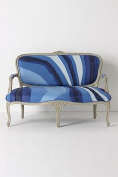 I love the juxtaposition of a piece of traditional French furniture with a funky raw edge upholstery. This is done in linen and cotton....I'm thinking it would be REALLY cool if it were done in denim! ($2498 Louisa Settee - Anthropologie.com)