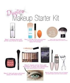 Drugstore Makeup Starter Kit-A beauty collage from April 2016 by featuring beauty, Maybelline, BBrowBar, NYX, e. and Rimmel Basic Makeup, Eye Makeup Tips, Skin Makeup, Makeup Brushes, Beauty Makeup, Elf Makeup, Quick Makeup, Candy Makeup, Eyebrow Makeup