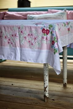 Love this nostalgic tablecloth...{the cottage nest}: Enough