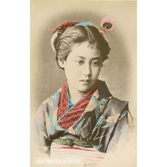 "1880's. A beautiful portrait of a woman in kimono. This photograph was extremely popular during the late 1800s and has been attributed to just about every major photographer who was active during that time. In his book Early Japanese Images (1996), photographic expert Terry Bennett calls this woman an ""officer's daughter"" and dates it to the 1880s."