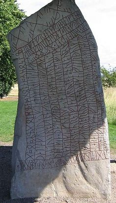 The Rök Runestone (Ög 136), located in Rök, Sweden features a Younger Futhark runic inscription that makes various references to Norse mythology