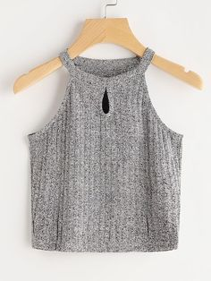 To find out about the Space Dye Keyhole Front Knit Top at SHEIN, part of our latest Tank Tops & Camis ready to shop online today! Crop Top Outfits, Trendy Outfits, Summer Outfits, Cute Outfits, Cami Tops, Halter Tops, Halter Neck, Teen Fashion, Fashion Outfits