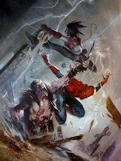 Spider-Man and Aracña vs Zombie Kraven by Gabriele Dell'Otto