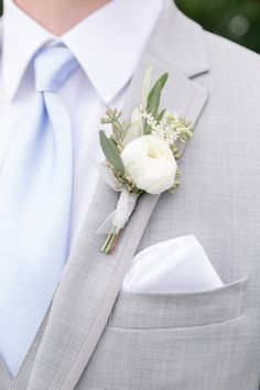 simple ranunculus and a touch of greens for this groom's bout! we love the cool tones of the suit, greens, and tie Small Wedding Bouquets, Bride Bouquets, Flower Bouquet Wedding, Floral Wedding, Wrist Corsage Wedding, Wedding Groom, Wedding Men, Wedding Suits, Our Wedding
