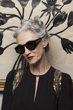 Linda Rodin wears BlueMoon (painting behind her)