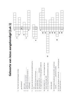 Kruiswoordpuzzel - Geboorte van Jezus aangekondigd (Luk 1)