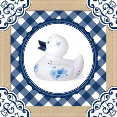 Geboortekaartjes - Delftsblauwe eend kader