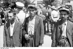 Thessaloniki, Greece, July 1942: Greek Jews are pressed into work gangs by the Germans. Thessaloniki had the largest Jewish community in Greece, some 50,000 strong. Only a handful survived the Holocaust.