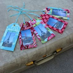 Luggage tags @ studiocherie. amy butler fabric.