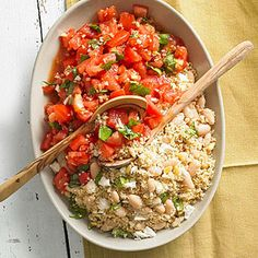 Beans and Couscous with Fresh Tomato Sauce