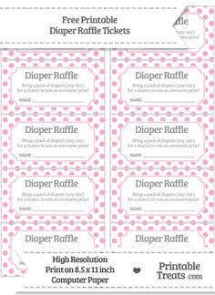 Challenger image inside free printable diaper raffle tickets for girl baby shower