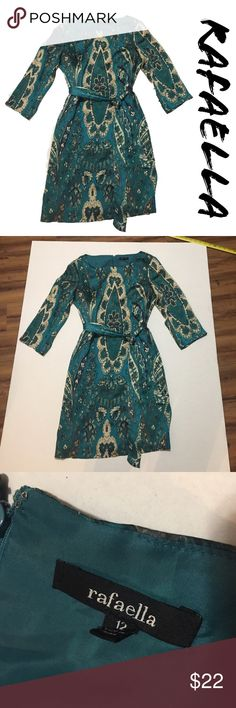 Rafaella Teal Paisley Print Dress - #145 Rafaella.  Size 12. Teal, green, blue, paisley print dress.  Longer sleeves and fabric tie belt.  Great for any occasion.  See photos for approximate measurements and fabric content. I accept most offers and ship quickly. Rafaella Dresses