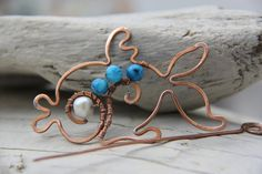 Wire wrapping Fish  copper shawl scarf pin brooch with blue by Keepandcherish, $19.99