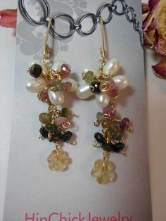 Freshwater Pearl Flower Wire Wrapped in Gold Fill Wire with Gemstone Mix of Watermelon Tormaline and Hand carved Citrine Flower