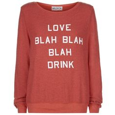 Wildfox Valentines Blah Blah Sweater ($125) ❤ liked on Polyvore featuring tops, sweaters, red fleece sweater, red sweater, wildfox, fleece sweater and fleece tops