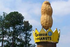 The world's largest peanut monument, located in Ashburn, Ga. was built in February The peanut is 33 feet high and is made of fiberglass, brick and concrete. Picnic table surround the peanut, so it is an excellent place for travelers to take a break. Georgia Girls, Georgia On My Mind, Southern Style, Southern Heritage, Southern Living, Roadside Attractions, Old Signs, American Country, Vintage Signs