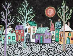 Starry Sky 14x11 Birds Cat ORIGINAL Canvas PAINTING Abstract FOLK ART Karla G...new painting, ready to hang, for sale...