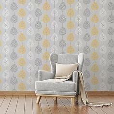 The wallpaper features a fun, tree design on a shimmering metallic background and will brighten a living room, bedroom or elsewhere. In a contemporary grey colour scheme with yellow accents, the Fine Decor Tree Grey/Yellow Wallpaper is a great choice. Living Room Grey, Interior Design Living Room, Living Room Designs, Living Room Decor, Living Rooms, Whatsapp Wallpaper, Gray Bedroom, Trendy Bedroom, Bedroom Yellow