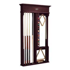 Keep your billiard accessories together while saving on floor space with the Centennial Wall Rack. This rack holds up to eight cues (including the bridge stick and shorty cue), a full set of billiard balls, 8-ball rack, 9-ball rack, table brush, and chalk. #dannyveghs #billiardroom
