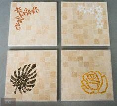 Descanso de mesa em mosaico de mármore
