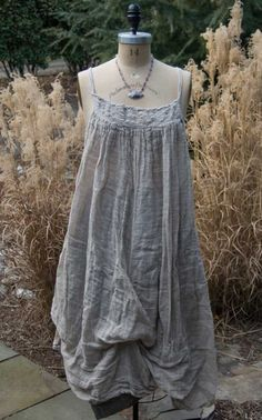 Magnolia Pearl Linen Gauze Fannie Slip with Shirring and Under-Ties  $248 by Society Hill Designs