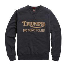 Triumph Radial Sweatshirt - Black / Gold Triumph Motorcycle Clothing, Motorcycle Style, Motorcycle Outfit, Motorcycle Fashion, Indian Motorcycles, Triumph Motorcycles, Mv Agusta, Crew Neck Sweatshirt, Graphic Sweatshirt