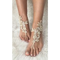 Champagne Beach wedding barefoot sandals, french lace sandals, wedding... ($24) ❤ liked on Polyvore featuring shoes, sandals, bridal shoes, lace shoes, evening sandals, beach sandals and beach anklets