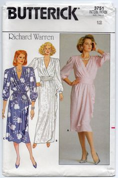 Richard Warren Mock Wrap Dress With Shoulder Pads And by Rosie247