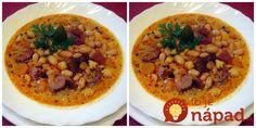 Skvelá polievočka, ktorá zastúpi aj hlavný chod. je v nej všetko, čo máme radi, zasýti a zahreje.  Potrebujeme:  350 g fazule (ja som dala bielu)    100-150 g pálivej klobásy    150 g údeného mäsa    200 g zemiaky    150 g mrkva    Kúsok póru    1 ks Modern Food, Chana Masala, Soup Recipes, Vegetarian, Meat, Ethnic Recipes, Soups, Red Peppers, Soup