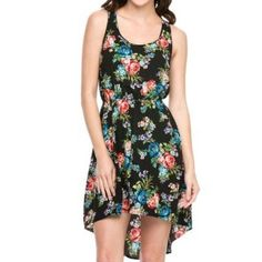 NEW High-Lo Black Floral Sleeveless Chiffon Dress Brand new. Beautiful, vibrant floral summer dress. Lightweight. Lined. Sleeveless, scoop neckline. Elastic detailed waist, figure flattering. Asymmetrical high-lo cut hem. Dress up or down! NO TRADES Dresses High Low