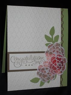 Secret Garden-Secret Garden-The flowersdone using Faux Stained Glass technique. Stamp image in versamark on Vellum card stock, cover w White EP, heat emboss then let dry. Turn vellum over, color back of image. Tried two ways of coloring... lighter flowers were colored using a blender pen to pick up Calypso Coral from the inkpad. Darker flower was sponged with Calypso Coral. The blender pen way created a more subtle look, whereas the sponged way is a lot quicker!