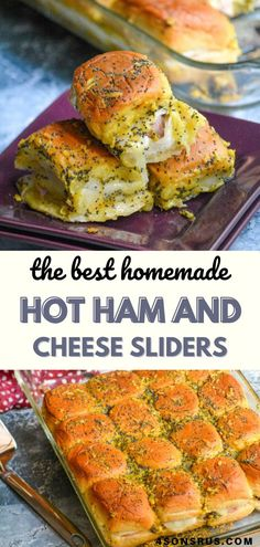 Hot ham and cheese sliders are ooey, gooey, finger-lickin' good sandwiches full of deliciousness. This fast and easy recipe is perfect for your busiest days and are so good even the leftovers are drool-worthy. Make them today and be prepared to wonder what took you so long to find this amazing slider. #sliders #breakfast #breakfastrecipe #recipe