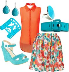 """""""flower skirt - blue and orange"""" by nataliesouth on Polyvore"""