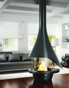 cheminee centrale suspendue Ergofocus #design Dominique Imbert ...