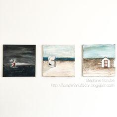Sea, Beach and Clouds. Paintings on canvas. http://scrapmanufaktur.blogspot.com