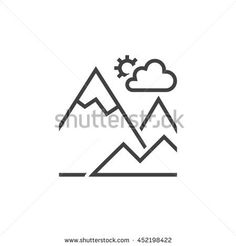 mountain line icon, outline terrain vector logo, linear pictogram isolated on white, pixel perfect illustration