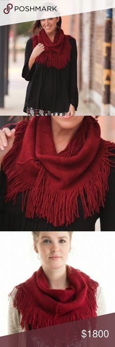 🎄COMING SOON🎄Holiday Red Fringe Infinity Scarf 🎄will be $18 upon arrival🎄like this listing to be notified of arrival.  %100 acrylic Boutique Accessories Scarves & Wraps